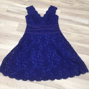 Tadashi Blue Lace Fit and Flare Formal Dress Sz 16